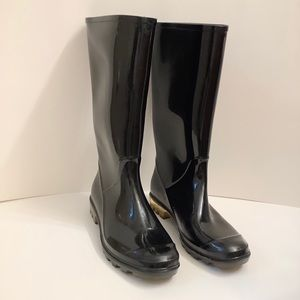 Coach Black Rubber Rain Boots - 7